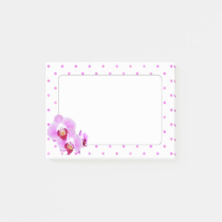 Purple Orchid Closeup Photography on Polka Dots Post-it Notes