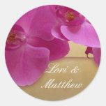Purple Orchid Design Round Sticker