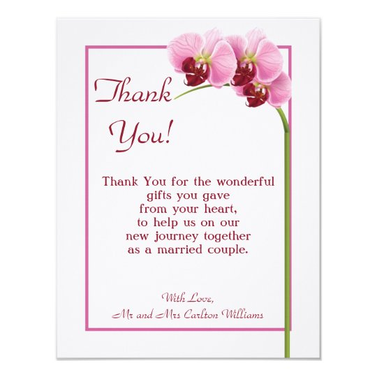 Purple Orchid Flat Wedding Thank You Card