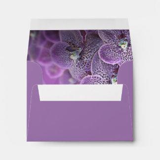 Purple Orchid Floral Wedding RSVP Return Address Envelope
