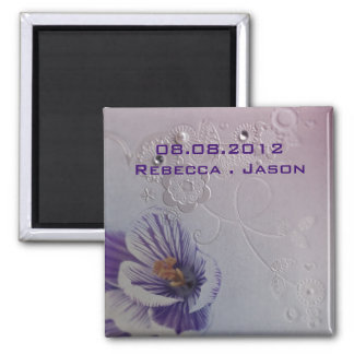 purple orchid floral wedding save the date magnet