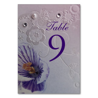 purple orchid floral wedding table number card