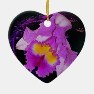 Purple Orchid flower Ceramic Ornament