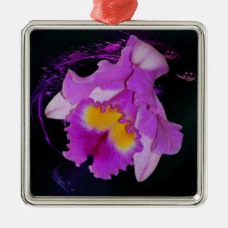 Purple Orchid flower Metal Ornament
