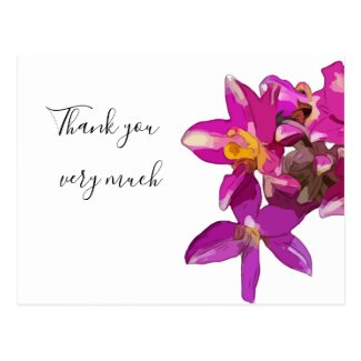 Purple orchid flower on white background Thank You Postcard