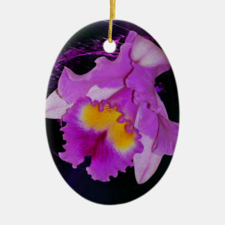 Purple Orchid flower Double-Sided Oval Ceramic Christmas Ornament