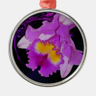 Purple Orchid flower Round Metal Christmas Ornament