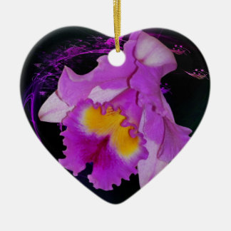 Purple Orchid flower Double-Sided Heart Ceramic Christmas Ornament