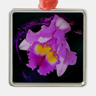 Purple Orchid flower Square Metal Christmas Ornament