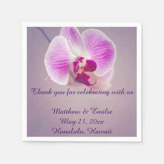 Purple Orchid Flower Paper Wedding Napkins