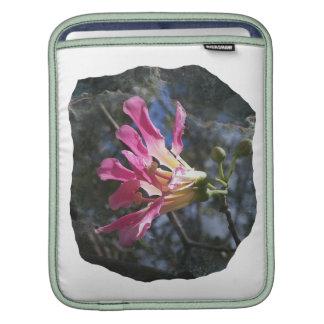 Purple orchid flower tree n sky rock background iPad sleeves