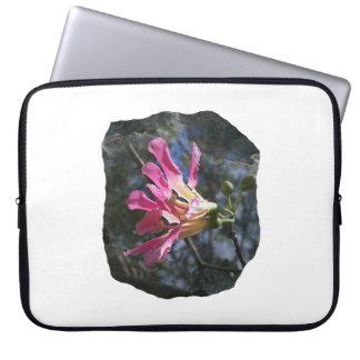 Purple orchid flower tree n sky rock background computer sleeves