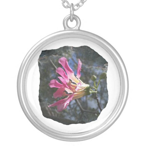 Purple orchid flower tree n sky rock background round pendant necklace