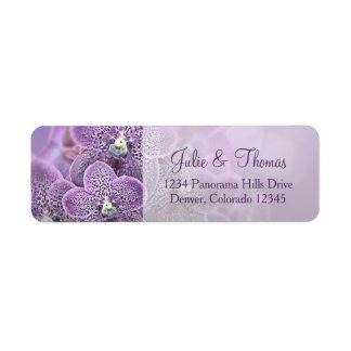 Purple Orchid Flower Wedding Return Address Label