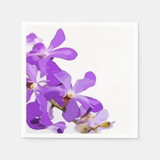 Purple orchid flowers are on white background napkins