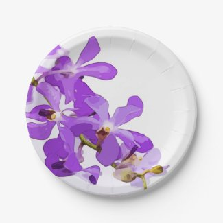 Purple orchid flowers are on white background paper plate