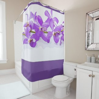 Purple orchid flowers on white background shower curtain