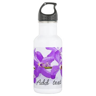 Purple orchid flowers on white background stainless steel water bottle