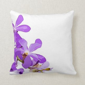 Purple orchid flowers on white background throw pillow