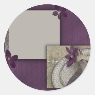 Purple orchid invitation classic round sticker