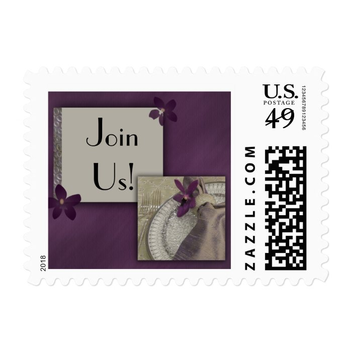 Purple orchid invitation postage