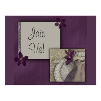 Purple orchid invitation postcard