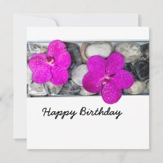 Purple orchid on the rock happy birthday Card