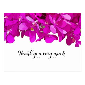 Purple orchid on white background thank you card