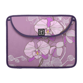 Purple Orchid Pattern Sleeve For MacBooks