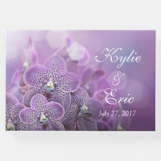 Purple Orchid Personalized Wedding Guest Book