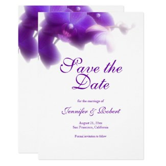 Purple Orchid Save the Date Announcement