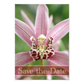 Purple orchid save the date wedding announcement