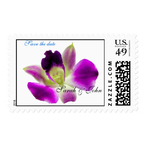 Purple Orchid Save The Date Wedding Stamp