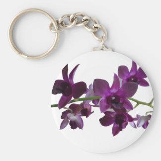 purple orchid spray keychain