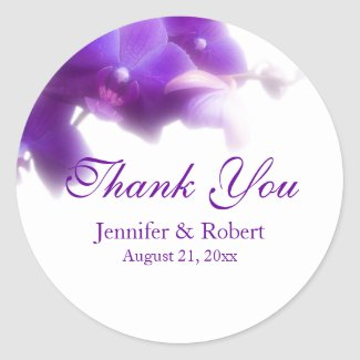 Purple Orchid Thank You Sticker