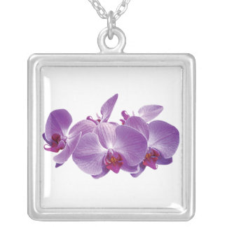 Purple Orchid Trio Square Pendant Necklace