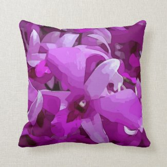 Purple Orchid watercolor Throw Pillow