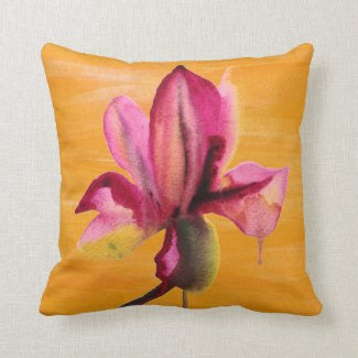 Purple Orchid watercolour orange pop art flower Throw Pillow