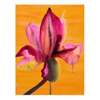 Purple Orchid watercolour orange pop art flower Postcard