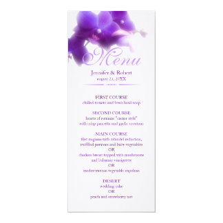 Purple Orchid Wedding Menu Card