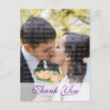 Purple Orchid Wedding Thank You Postcard