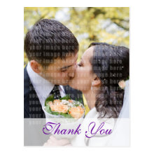 Purple Orchid Wedding Thank You Postcard