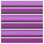 [ Thumbnail: Purple, Orchid, White & Black Pattern Fabric ]