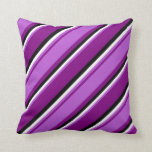 [ Thumbnail: Purple, Orchid, White & Black Pattern Throw Pillow ]