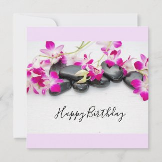 Purple orchid with black hot stone birthday card