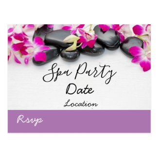 Purple orchid with black hot stone spa party postcard
