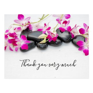 Purple orchid with black hot stone Thank you card