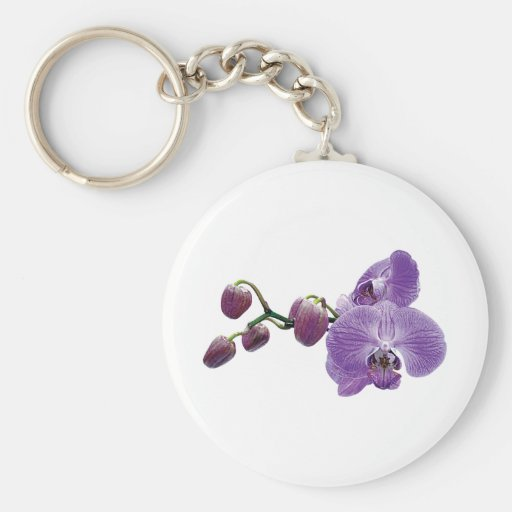Purple Orchid With Buds Keychain