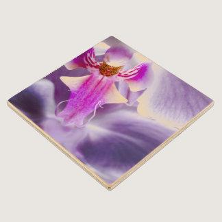Purple Orchid Wood Coaster
