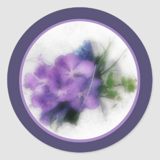 Purple orchids 1 envelope seal classic round sticker